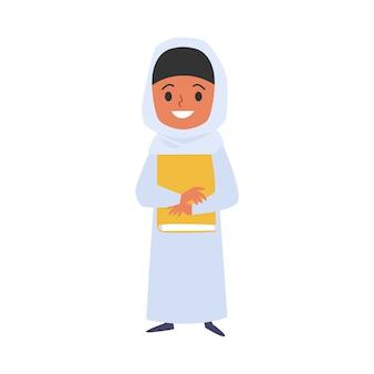 Muslimisches kindermädchen mit buchkarikaturcharakterillustration.
