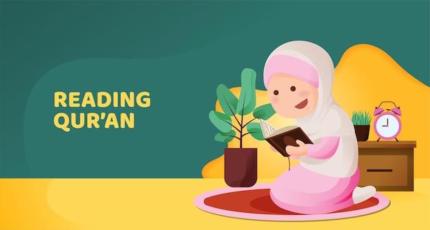 Muslimisches kindermädchen sitzt und liest koran mit glücklichem lächelngesicht, rezitierend heiliges buch des islam