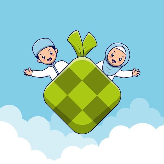 Muslimisches kinderpaar mit ketupat