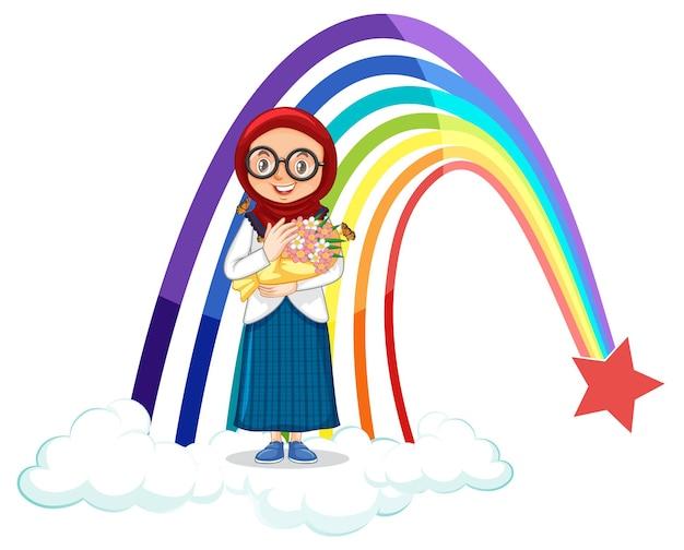Muslimisches mädchen, das blumenstrauß mit regenbogen hält