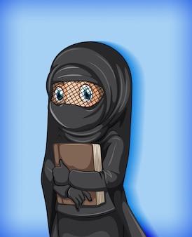 Muslimisches mädchen, das buch hält