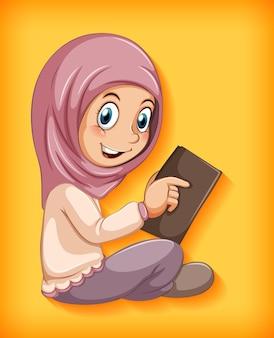 Muslimisches mädchen, das das buch liest
