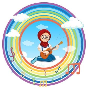 Muslimisches mädchen, das gitarre im runden rahmen des regenbogens mit melodiesymbol spielt