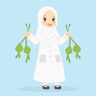 Muslimisches mädchen, das ketupat hält. zeichentrickfigur der muslimischen kinder