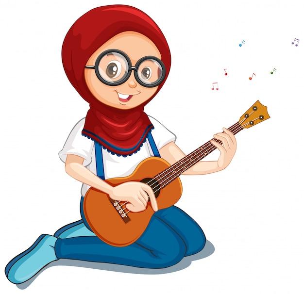 Muslimisches mädchen, das ukulele auf weiß spielt