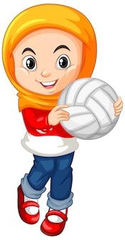 Muslimisches mädchen, das volleyball hält