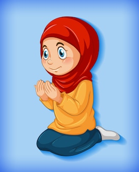 Muslimisches mädchen praktiziert religion