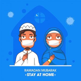 Muslimisches paar, das maske mit gegebenem rat trägt bleiben sie zu hause am ramadan mubarak festival.