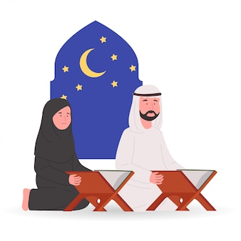 Muslimisches paar liest gemeinsam den koran ramadan kareem