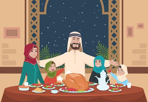 Muslimisches ramadan-abendessen. saudische familie mit kindern, die nach hause essen. ramadan-karikaturillustration