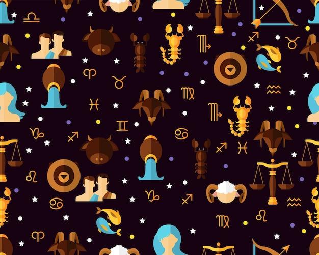 Muster-astrologischer tierkreis des vektors flacher nahtloser.