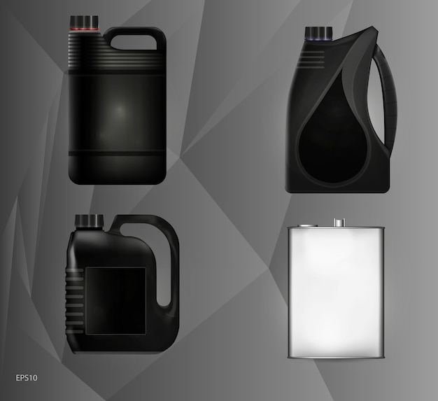 Muster aus kunststoff- und metalldosen für motoröl und technische flüssigkeiten. illustration.