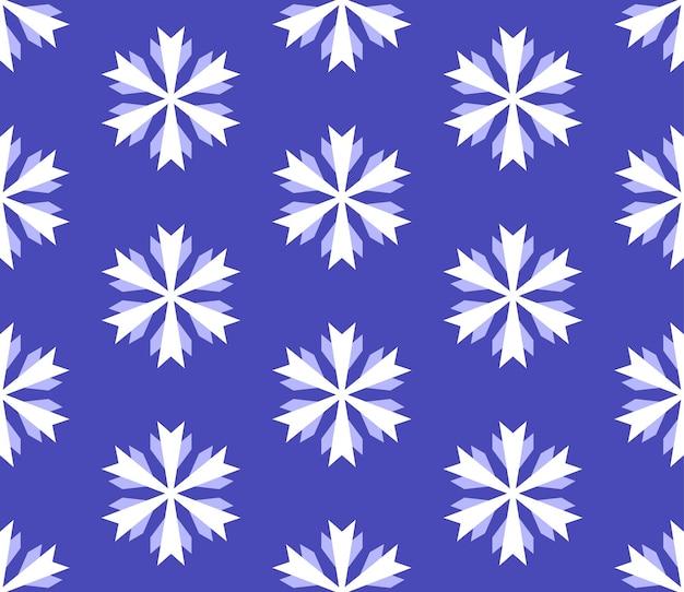 Muster aus weißen schneeflocken auf blauem hintergrund
