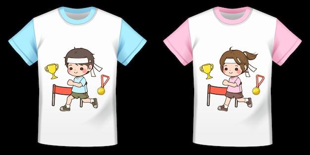 Muster-comicfiguren, läufer, jungen und mädchen auf t-shirts