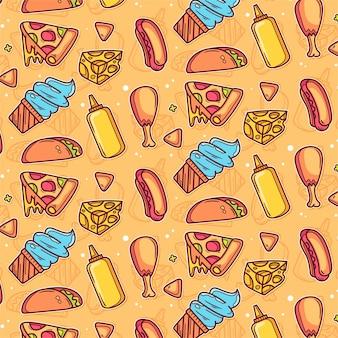 Muster der aufkleber-junk-food-ikone