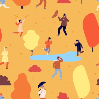 Muster der herbstsaison. leute, die im park spazieren gehen, illustration der herbstzeit. fliegende blätter, glückliche kinder und erwachsene mit nahtloser textur des regenschirmvektors. illustrationsherbstpark, leutemuster