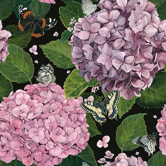 Muster der hortensie mit schmetterlingen