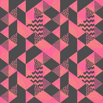 Muster der memphis-dreieckzusammenfassung mit weiblicher note