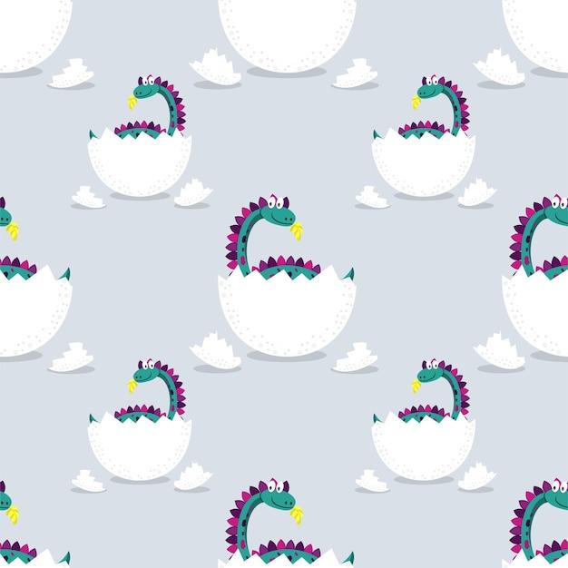Muster der niedlichen dinosaurier, die von einem ei geschlüpft sind.