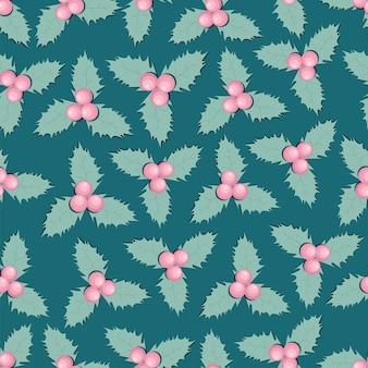 Muster der stechpalmenbeerenblätter.