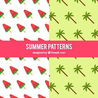 Muster der wassermelone und palme