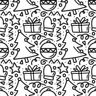 Muster der weihnachtshandhandzeichnung mit ikonen und gestaltungselementen