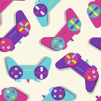 Muster des joystick retro-konsolenspiels der 90er jahre. vektorillustration.