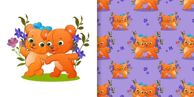 Muster des paares teddybär gehen zusammen im garten