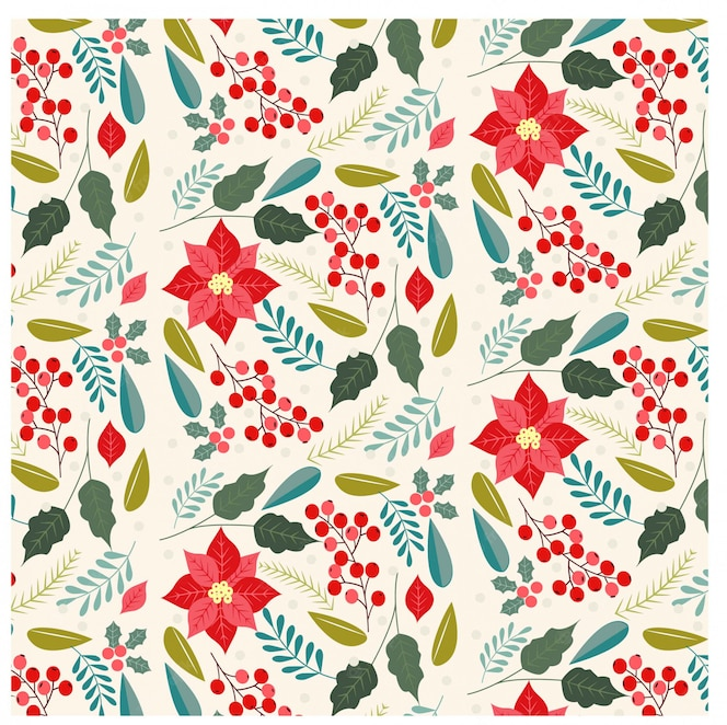 Muster des weihnachtsblumen- und -sortenblattes