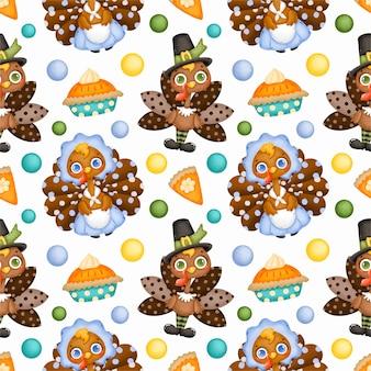 Muster eines niedlichen cartoon-truthahns. thanksgiving-truthahn der amerikanischen ureinwohner.
