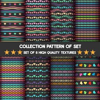 Muster eingestellt für herzen des regenbogen- und pastellhintergrundes ist schwarz.