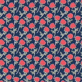 Muster-florahintergrund des chintz der roten rosen nahtloser