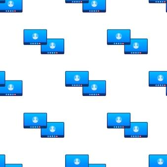 Muster für eingehende videoanrufe. vektorgrafik auf lager.