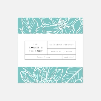 Muster für kosmetik mit etikettenschablonendesign. muster oder geschenkpapier für paket- und schönheitssalons. magnolienblüten. bio, naturkosmetik.