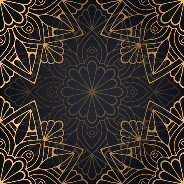 Muster-hintergrunddesign der mandala nahtloses in der schwarzen und goldenen farbe