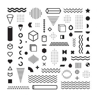 Muster-hippie-zusammenfassung. bilden sie geometrische linien- und sortenformen. punktmuster. modestil nahtlos