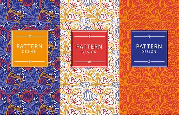 Muster in drei verschiedenen farbkombinationen