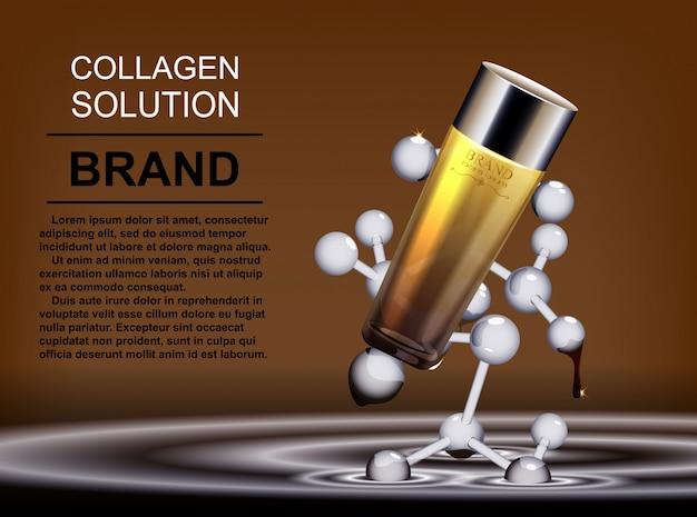 Muster kosmetische anzeigen, glasflaschentropfen von essenzöl isoliert auf der hintergrundformel des moleküls.