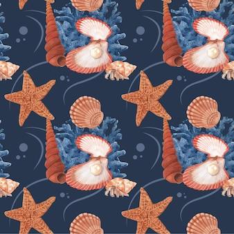 Muster mit aquarellillustration des meereslebenskonzeptdesigns