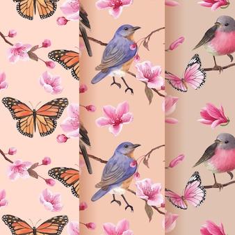 Muster mit blütenvogelkonzeptdesign-aquarellillustration
