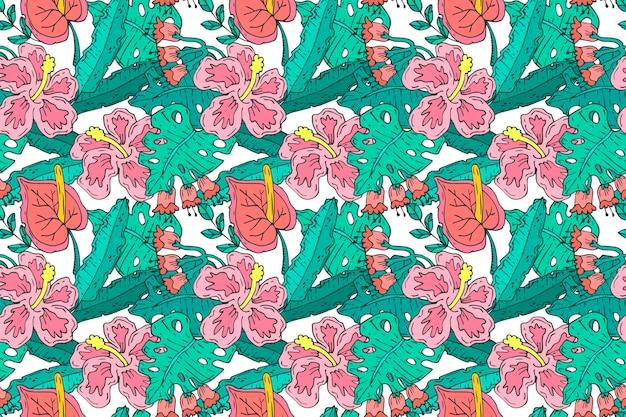 Muster mit bunten exotischen blättern und blüten