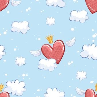 Muster mit einem geflügelten herzen in einer krone, das über himmel und wolken fliegt.