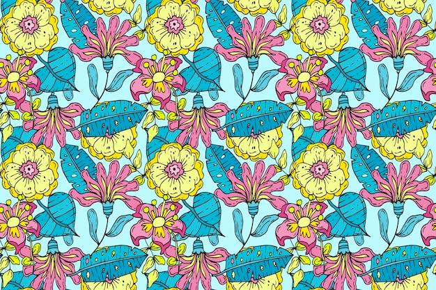Muster mit exotischen blättern und blüten