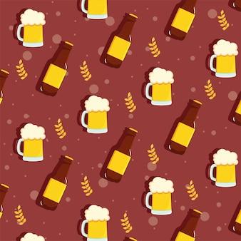 Muster mit flaschen und bierkrügen