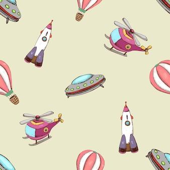 Muster mit flugzeugballonhubschrauber und rakete. transport und reisen.