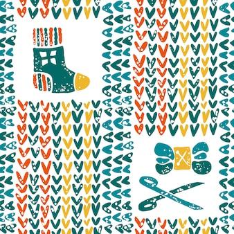 Muster mit garn und gestrickter socke