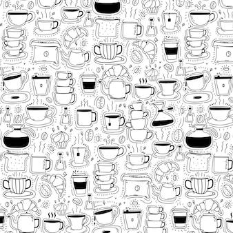 Muster mit gezeichnetem gekritzel-kaffee-hintergrund der linie hand.