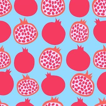 Muster mit granatäpfeln auf blauem hintergrund vektorbild mit früchten zum drucken