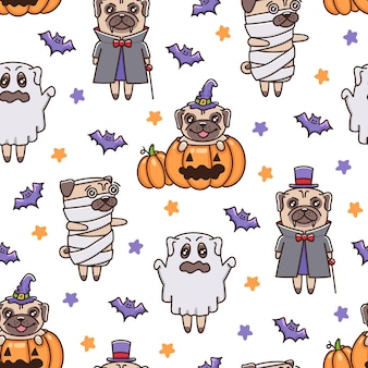 Muster mit halloween-mops-hunden in kostümen geister-vampir-mumien-zauberer im cartoon-stil