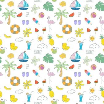 Muster mit hand gezeichneten strandelementen im sommer